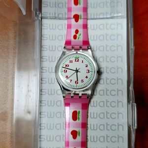 Swatch watch women's cherry pink and white watches
